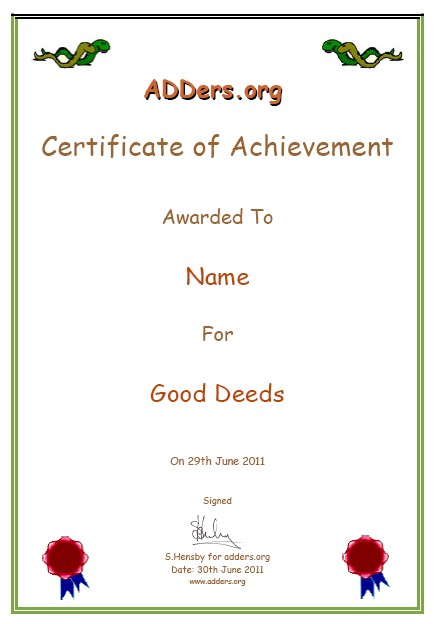 Certificate of achievement adderward